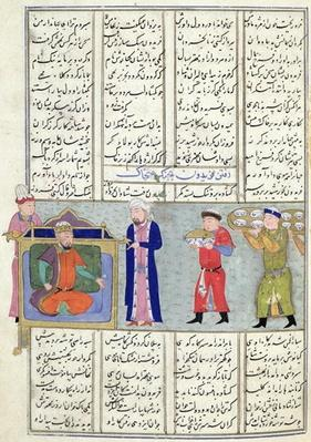 Ms C-822 Preparation of the feast ordered by Feridun before his departure for war, from the 'Shahnama'