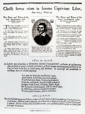 Christi Servus Etiam in Summa Captivitate Liber: a page from a broadsheet containing a list of places and times of John Lilburne's