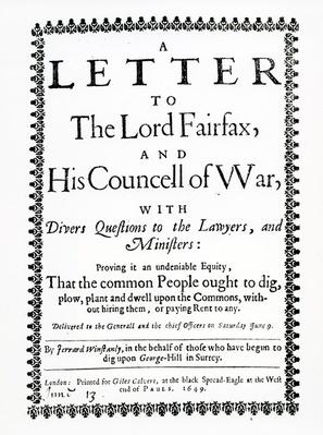 Letter to Lord Fairfax from Gerrard Winstanley