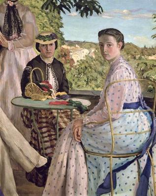 Family Reunion, detail of two women, 1867