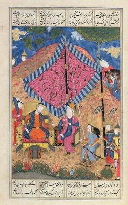 Ms D-184 fol.203a The Tent of the Persian Army, illustration from the 'Shahnama'
