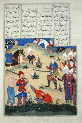 Ms D-184 fol.208b The decapitation of Afrasiab's dream comes to pass, illustration from the 'Shahnama'