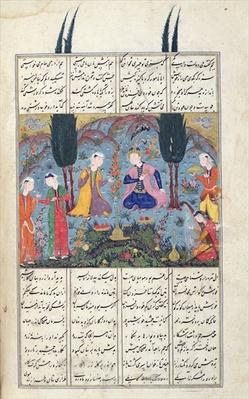 Ms D-184 fol.381a Court Scene in a Garden, illustration from the 'Shahnama'