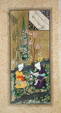 Ms C-860 fol.9a Two Figures Reading and Relaxing in an Orchard, c.1540-50