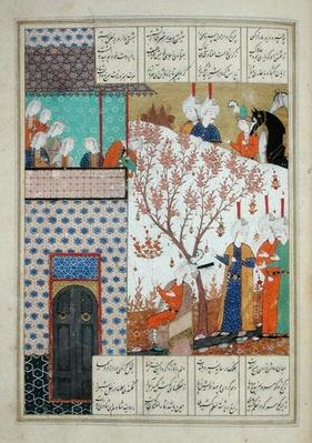 Ms D-212 fol.91a Khosro before Shirin's Palace, illustration to 'Khosro and Shirin', 1176, by Elias Nezami