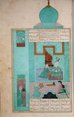 Ms D-212 fol.216a Bahram Visits a Princess in the Turquoise Pavilion, illustration to 'The Seven Princesses', 1199, by Elias Nezami