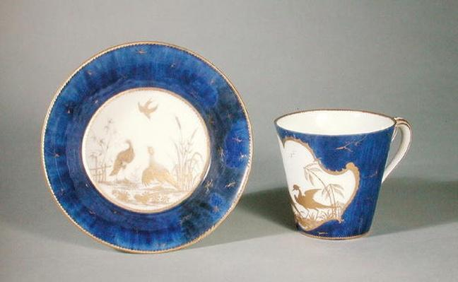 Cup and saucer decorated with birds on a blue background, Vincennes workshop