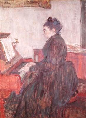 Madame Pascal at the piano in the salon of the Chateau de Malrome, 1895