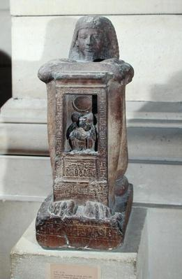Naophorous statue of the scribe, Kha, with the god Thoth in the naos, New Kingdom, c.1279-1212 BC