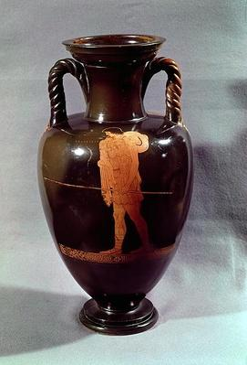 Attic red-figure amphora depicting Euphorbos and the infant Oedipus, from Vulci, c.450 BC