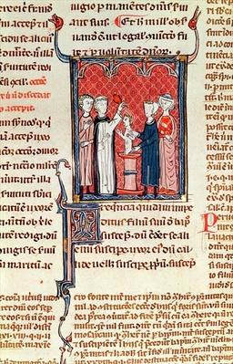 Ms 372 fol.161 A Baptism Scene, from 'Decrets de Gratien'
