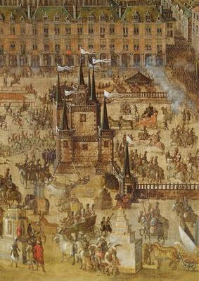 The Place Royale and the Carrousel in 1612, detail of the Palais de la Felicite and the chariots