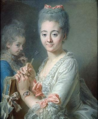 Madame Theodore Lacroix Drawing a Portrait of her Daughter, Suzanne Felicite