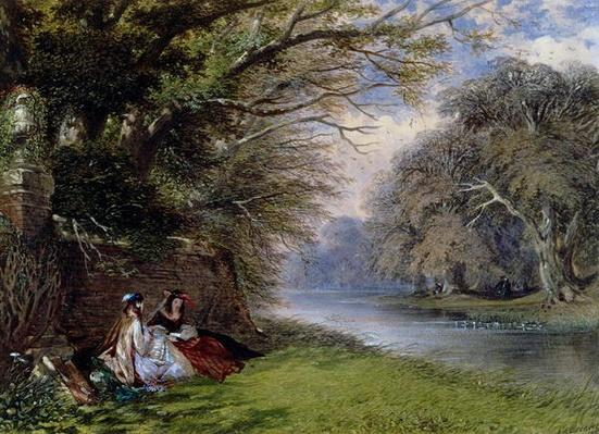 Young ladies by a river