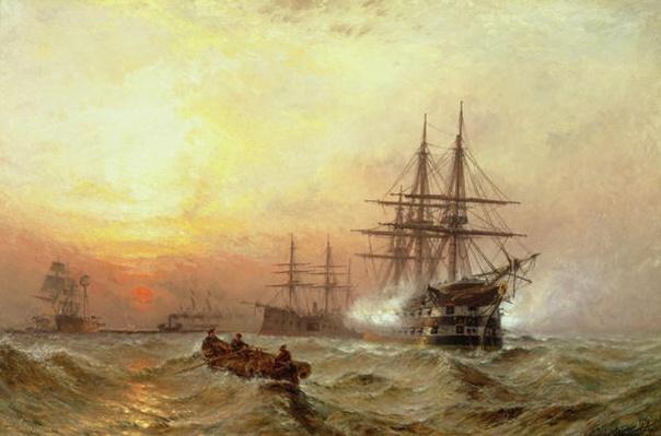 Man-o'-War firing a salute at sunset