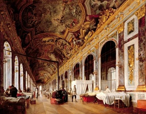 The Hall of Mirrors at Versailles used as Military Hospital for Tending Wounded Prussians in 1871