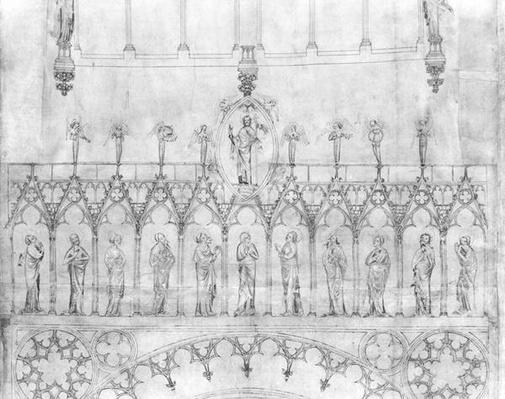 Design for the gallery of kings on the facade of Strasbourg Cathedral, c.1380