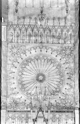 Design for the rose window and gallery of kings on the facade of Strasbourg Cathedral, c.1380
