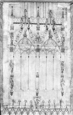 Project for the Cathedral, elevation of the west facade up to the top, level between the towers, Strasbourg, c. 1380