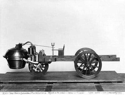 Steam-powered car invented by Nicolas Joseph Cugnot