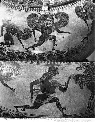 Attic black-figure dinos depicting Perseus fleeing from the Gorgons, c.590 BC