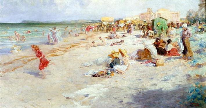 A Busy Beach in Summer