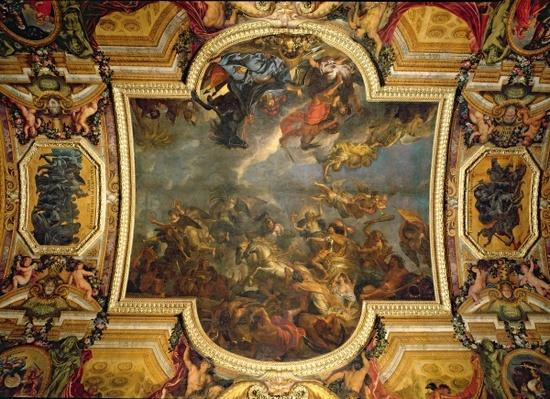 View of The King Taking Maastricht in Thirteen Days in 1673 and the Passage on the Rhine in the Presence of the Enemies in 1672, ceiling painting from the Galerie des Glaces, 1678-86