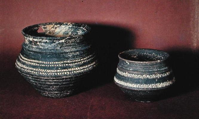 Two decorated vases, from the cemetery at Mazerny, Ardennes