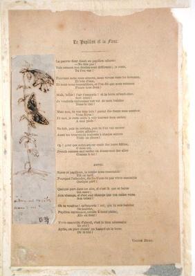 'Le Papillon et la Fleur', poem with an illustration of butterlies from 'Les Chants du Crepuscule'