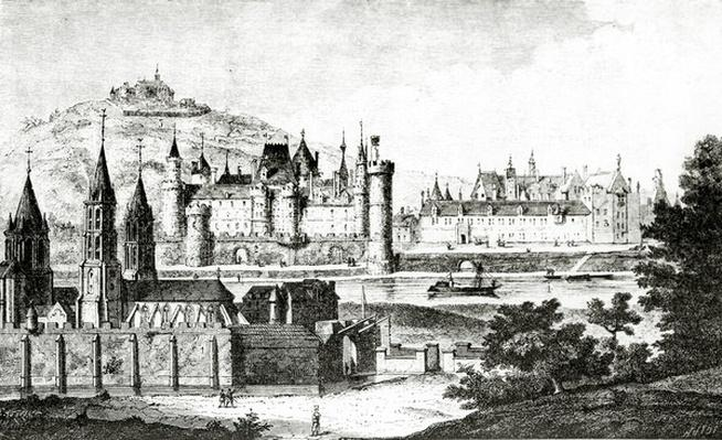 View of Saint-Germain-des-Pres and of the Pre-aux-Cleres during the reign of Charles V