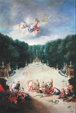 The Groves of Versailles. View of the Arc de Triomphe and France Triumphant with Nymphs Chaining Captives before Venus and Mars, 1688