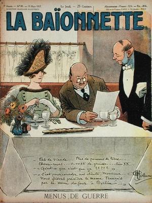 Menus de Guerre, from 'La Baionnette', 15th March 1917