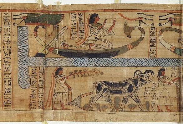 Detail from the Book of the Dead of the priest Aha-Mer depicting a barque and a farming scene, Third Intermediate Period