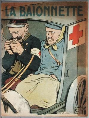 Caricature of an ambulance, front cover of 'La Baionnette', 28th June 1917