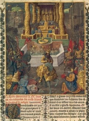 Ms NAF 21013, fol.1v Capture of Jerusalem by Herod in 36 BC, illustration from Book 2 of 'Antiquites Judaiques', c.1470