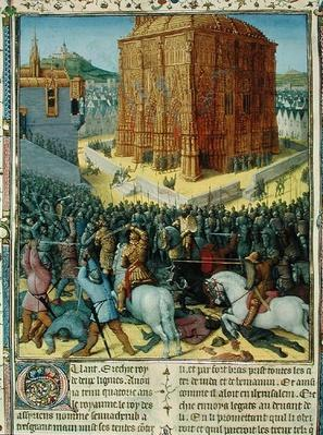 Ms Fr 247 fol.213 The Siege of Jerusalem by Nebuchadnezzar, illustration from 'Antiquites Judaiques', c.1470