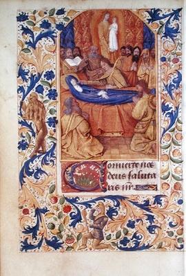 Ms Latin 13305 fol.88v The Death of the Virgin, from 'Heures a l'Usage de Rome', c.1465
