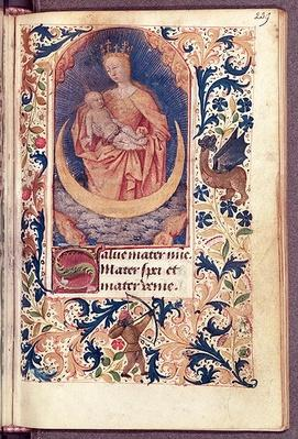 Ms Latin 13305 fol.239 The Virgin and Child, from 'Heures a l'Usage de Rome', c.1465