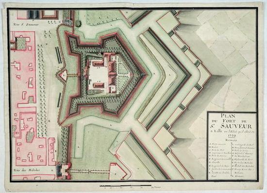 Fort of Saint-Sauveur, Lille, in 1728, from 'Traite de Fortifications'