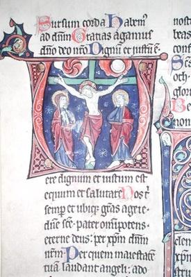 Ms 228 fol.89v Crucifixion, from 'Missel de la Consecration de l'Abbatiale de Vauclair', 1257