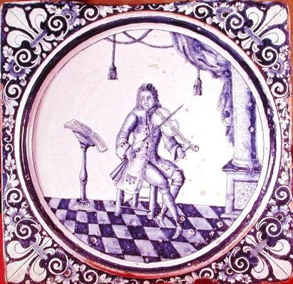 Tile depicting a violinist, from Rouen, 1706