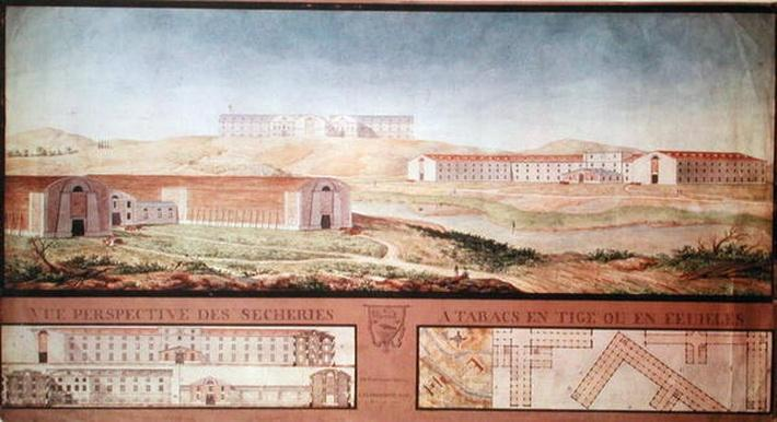 Perspective View of Tobacco Drying Factories, 1813