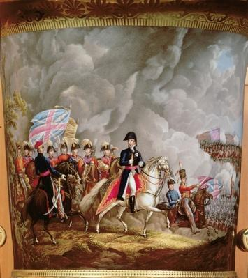 Vase with depiction of Wellington and his officers at the battle of Waterloo in 1815