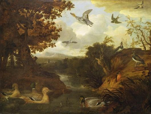 Ducks and other birds about a stream in an Italianate landscape, 1671