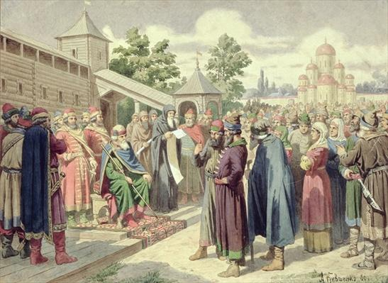 Reading of the Code in the Presence of Grand Duke Jaroslav of Novgorod, 1880