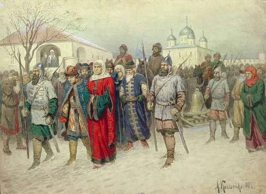 Joining of Great Novgorod, Novgorodians Departing to Moscow, 1880