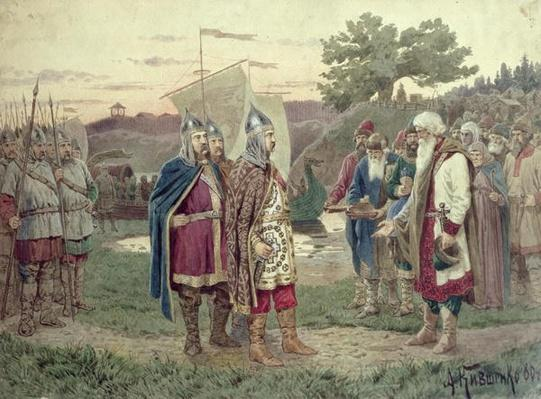 The Grand Duke Meeting with the People of a Slav Town in the 9th century, 1880