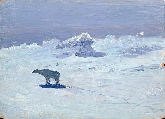 A Polar Bear Hunting in Moonlit Night, 1899