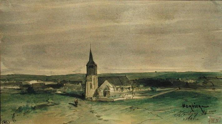 Church and Village in the Middle of a Field, Montigny, 1866