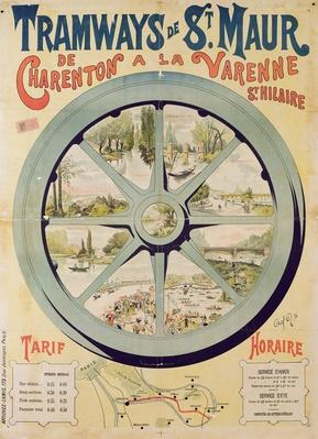 Poster advertising the Tramways de St. Maur from Charenton to La Varenne-Saint-Hilaire, 1894 by French School, (19th century)